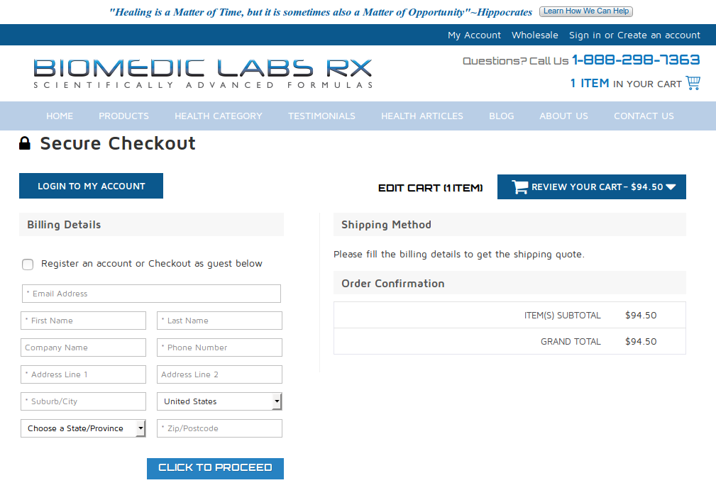 Bigcommerce One Step Checkout In biomedic