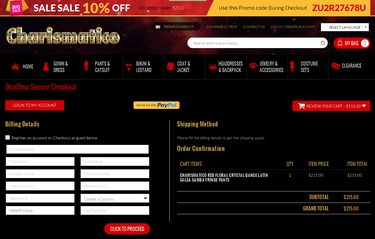Bigcommerce One Step Checkout In Charismatico Dancewear Store