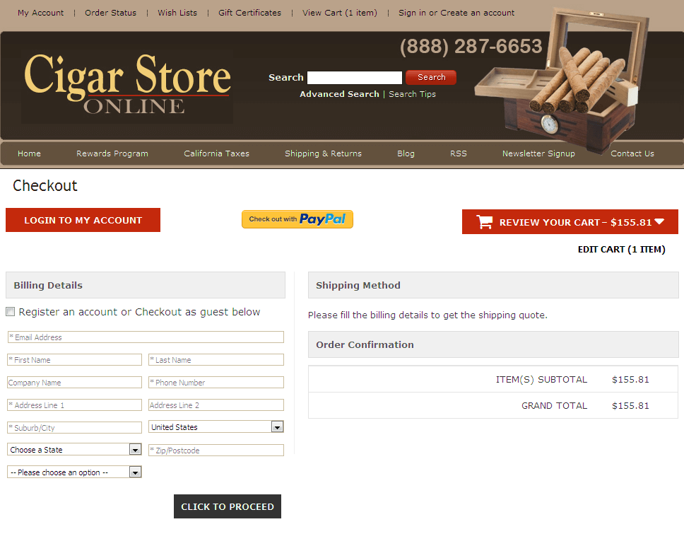 Bigcommerce One Step Checkout In cigar