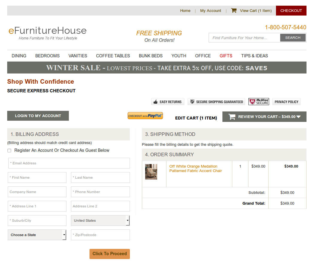 Bigcommerce One Step Checkout In efurniturehouse