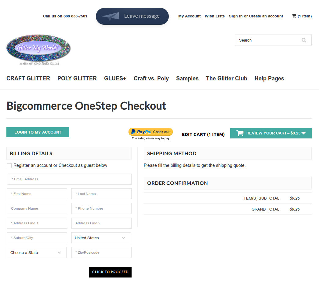 Bigcommerce One Step Checkout In gilter