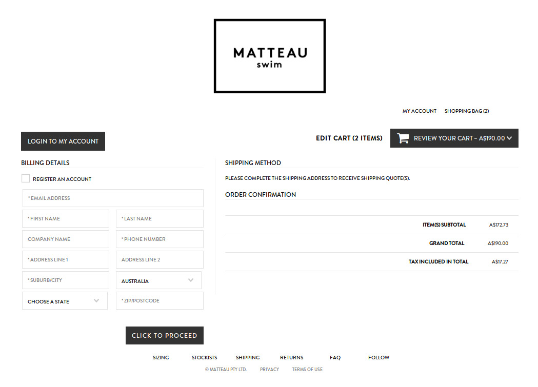 Bigcommerce One Step Checkout In Matteau Swim