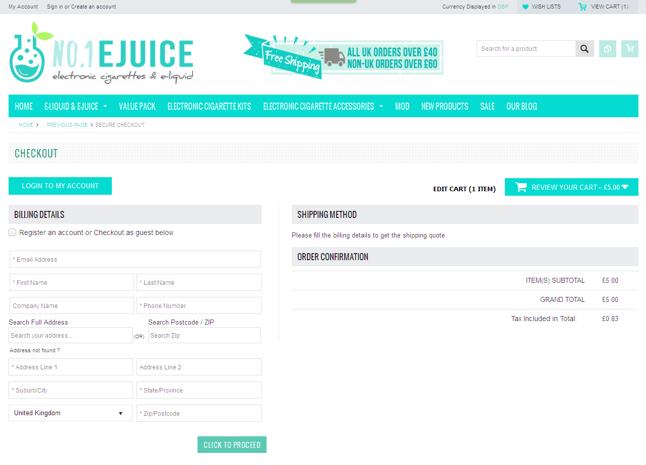 Bigcommerce One Step Checkout In no1.ejuice