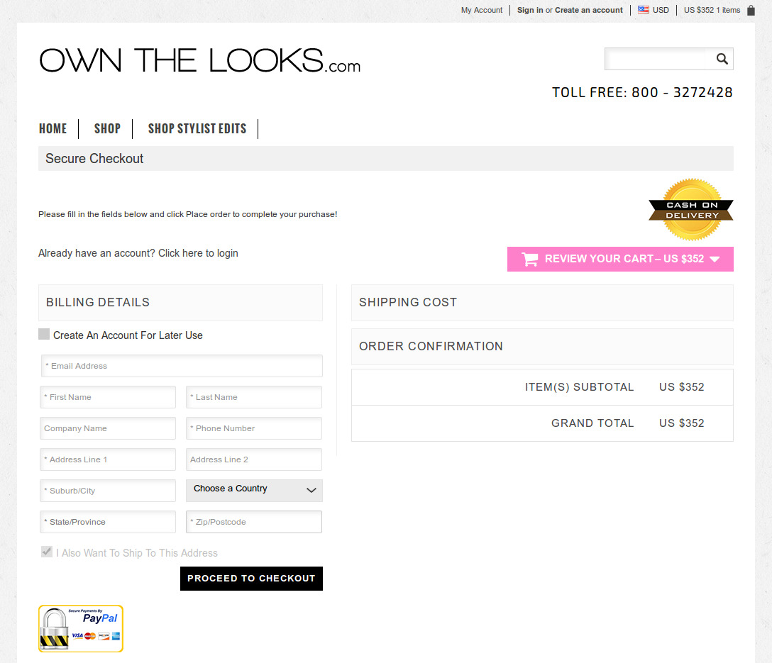 Bigcommerce One Step Checkout In Ownthelook