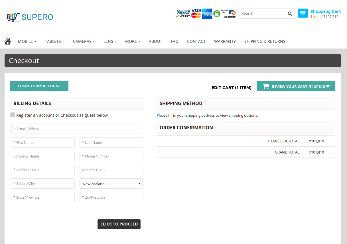 Bigcommerce One Step Checkout In supero