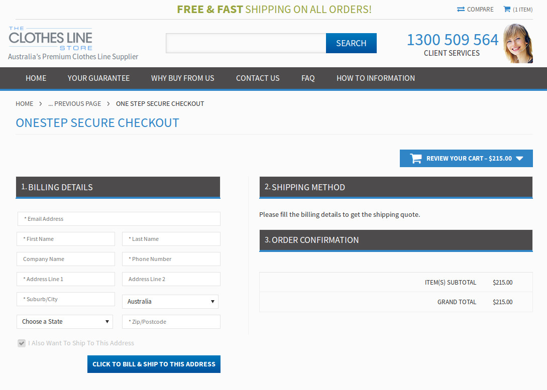 Bigcommerce One Step Checkout In theclotheslinestore