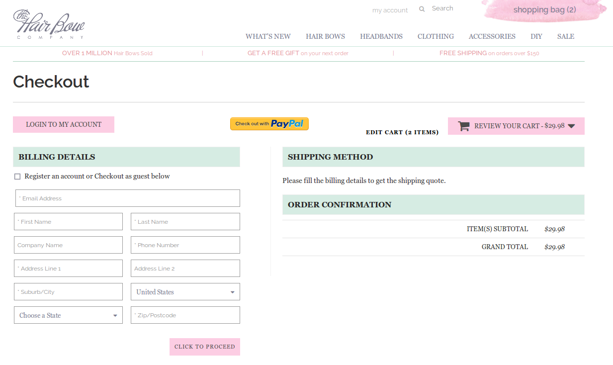 Bigcommerce One Step Checkout In thehairbow