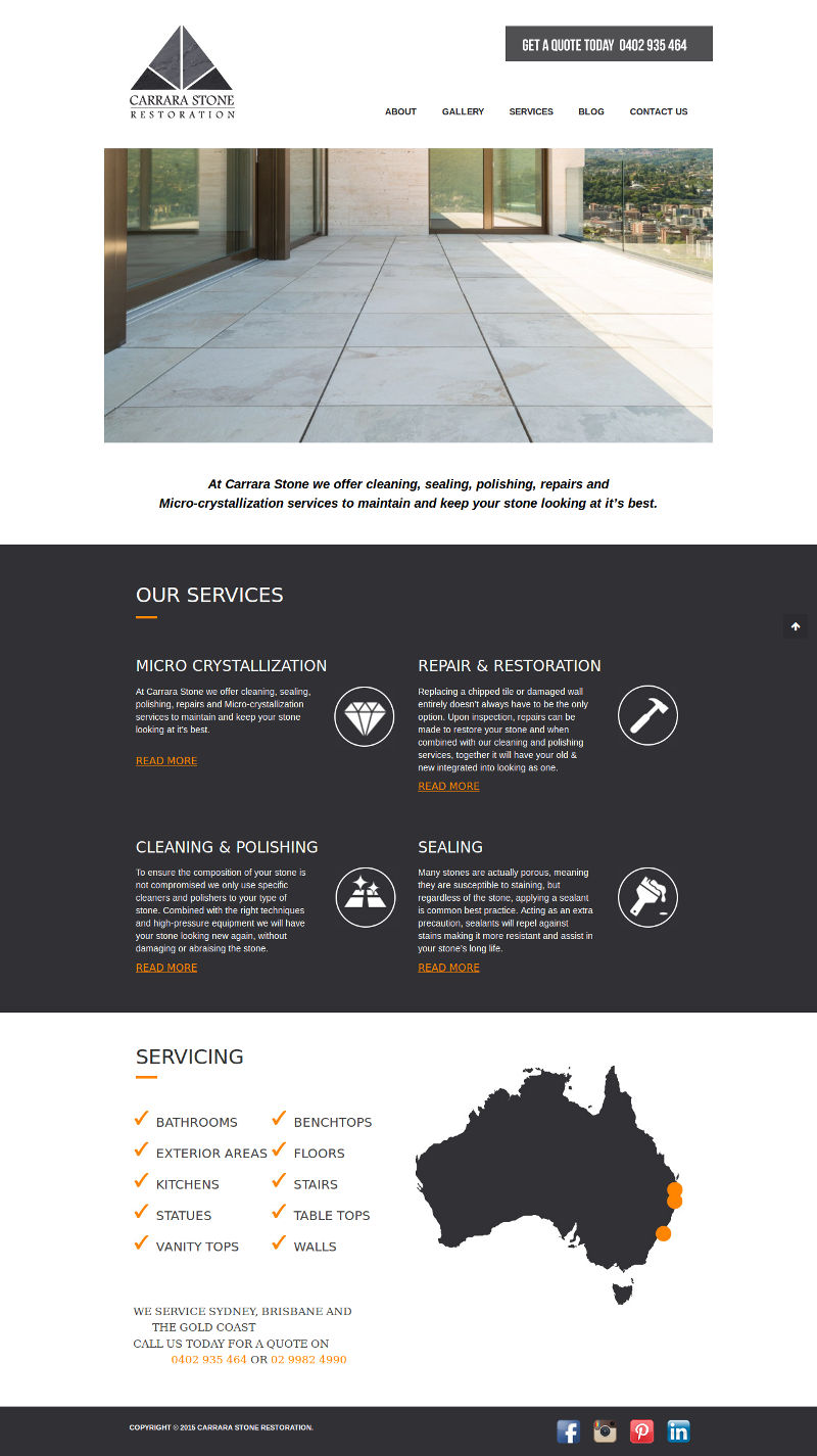 Carrarastonerestoration - Wordpress website development